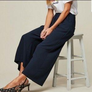 Zara Navy Blue Crop Wide Leg High Rise Pants sz L